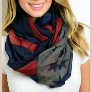 Accessories - 5/$25 New Patriotic Infinity Scarf Red Blue Stars